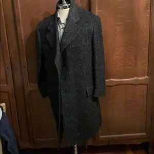 Versace Wool Top Coat Charcoal Gray